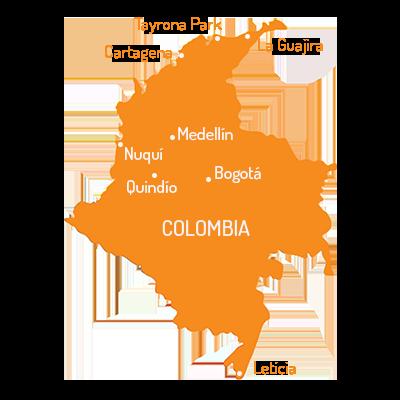 Landkaart van Colombia