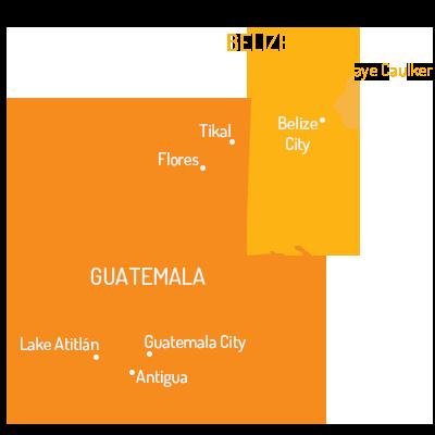 Landkaart_Guatemala_Belize